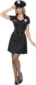 Smiffys 45505XS - Damen Polizei Kostüm, Kleid, Hut und Gürtel, Größe: 32-34, schwarz