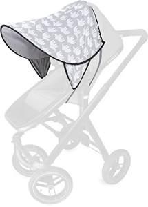 PRIEBES DAISY Sonnendach UV-Schutz 50+   Sonnensegel Sonnenschutz Sonnenverdeck für Sportwagen, Buggys, Kinderwagen   100% Baumwolle   beidseitig verwendbar, Design:elefanten grau