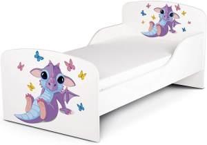 Leomark Kinderbett 70x140 cm, Babydrache, mit Matratze und Lattenrost