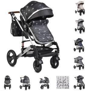 Moni Kinderwagen Gala Premium Tragetasche Sportsitz Wickeltasche Sitz umkehrbar schwarz