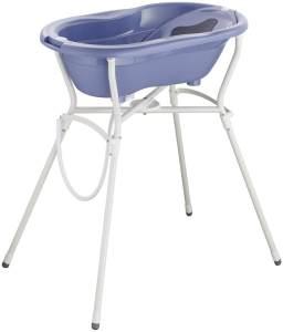 Rotho Babydesign Komplett-Badeset mit Wanne und Klapp-Ständer, ab 0 Monaten, Max 25kg, TOP, Cool Blue (Blau), 21060 0287 01