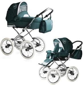 Bebebi Loving   2 in 1 Kombi Kinderwagen   Nostalgie Kinderwagen   Farbe: Green Tender