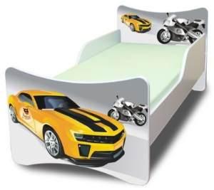 Best For Kids 'Rennfahrzeuge' Kinderbett mit Schaummatratze 70x140 + Matratze + Lattenrost grau