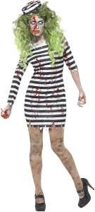 Halloween! Smiffys Zombie Sträfling Kostüm, Schwarz, mit Kleid & Hut