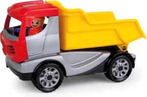 Lena 01620 - Truckies Kipper, stabiles Baustellen Fahrzeug ca. 22 cm, kleines Spielfahrzeug LKW Muldenkipper für Kinder ab 2 Jahre, robuster Kipplaster für Sandkasten, Strand und Kinderzimmer