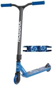 HUDORA 14025 'Stunt-Scooter XQ-12' Scooter, ab 8 Jahren, Lenkerhöhe ca. 82,5 cm, 360° Lenkung, High-Rebound Rollen, max. belastbar bis 100 kg, blau/schwarz