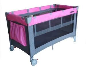 Zekiwa Reisebett DREAM, mit 2. Liegeebene, einfaches Handling, seitlicher Ausstieg, mit einseitigen Rollen, seitliche Utensilientasche vorhanden, inklusive Faltmatratze und Tragetasche, Dessin: Pink