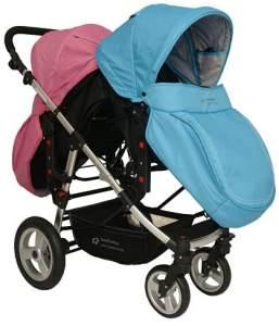 Babyfivestar Geschwisterwagen / Zwillingswagen Pink / Blue Schwarzes Gestell