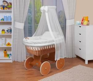 WALDIN Baby Stubenwagen-Set mit Ausstattung, Gestell/Räder natur lackiert, Ausstattung weiß