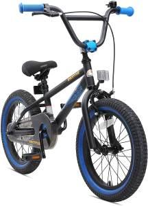 BIKESTAR Kinderfahrrad für Mädchen und Jungen ab 4-5 Jahre | 16 Zoll Kinderrad Kinder BMX Freestyle | Fahrrad für Kinder Schwarz & Blau | Risikofrei Testen