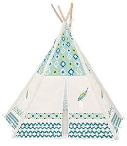 Achoka Zelt Tipi Zeichnung Feder mit Boden aus Polyester blau beige 120 x 120 x 150 cm Set für Kinder von 0 bis 7 Jahren Kreative Spiele für Jungen und Mädchen – Innen Außen