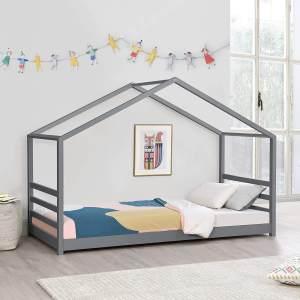 [en.casa] Hausbett Dunkelgrau 90x200cm, inkl. Lattenrost