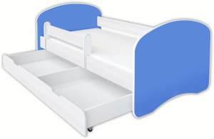 Clamaro 'Schlummerland UNI' Kinderbett 70x140 cm, Blau, inkl. Lattenrost, Matratze, Rausfallschutz und Schublade