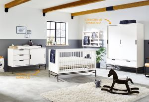 Pinolino 'Steel' 3-tlg. Babyzimmer-Set extrabreit groß