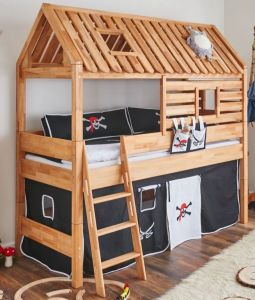 Relita 'Tom´s Hütte' Spielbett inkl. Stoffset 'Pirat' und Matratze