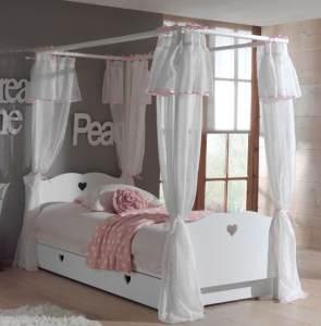 Amori Himmelbett 90x200 cm Kinderbett Jugendbett Weiß, Matratze Soft und Lattenrost 26 Leisten