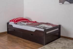 Einzelbett/Funktionsbett'Easy Premium Line' K1/1n inkl 2 Schubladen und 2 Abdeckblenden, 90 x 200 cm Buche Vollholz massiv Schokobraun