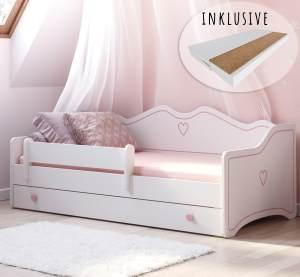 Kinderbett Mdchen Jugendbett 80x160 mit Matratze Rausfallschutz & Schublade | Prinzessin Kinder Sofa Couch Bett umbaubar rosa wei