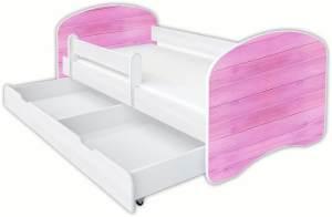 Clamaro 'Schlummerland Dekor' Kinderbett 80x180 cm, Design 9, inkl. Lattenrost, Matratze, Rausfallschutz und Schublade