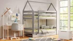 Kinderbettenwelt 'Home' Etagenbett 80x190 cm, grau, Kiefer massiv, mit Lattenrosten und zwei Schubladen