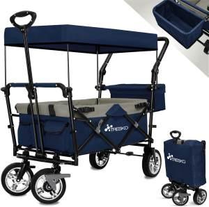 TRESKO Bollerwagen in Blau, faltbar inkl. Sonnendach, max. Belastbarkeit 80 kg