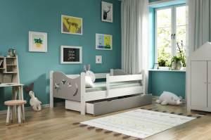 Kinderbettenwelt 'Chrisi' Kinderbett 80x160 cm, Grau/Weiß, Kiefer massiv, inkl. Schublade, Lattenrost und Matratze