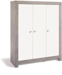 Schardt 'Nordic Driftwood' 3-trg. Kleiderschrank, weiß/grau, mit Kleiderstange und 7 Ablagefächern