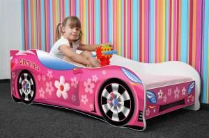 Lux4Kids 'Delfin' Autobett 70x140 cm, Girl Car, mit Matratze und Lattenrost