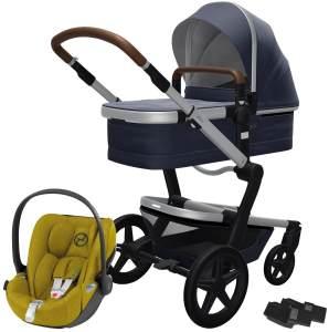 Joolz 'Day+' Kombikinderwagen 3-in-1 Classic Blue inkl. Babywanne und Babyschale Cybex Cloud Z Plus Mustard Yellow