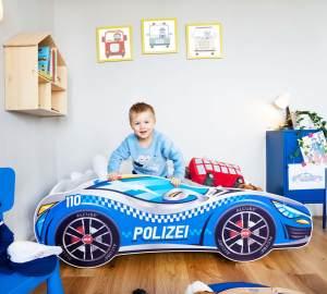 Alcube 'Polizei' Kinderbett Autobett 140 x 70 cm inkl. Lattenrost und Matratze, blau