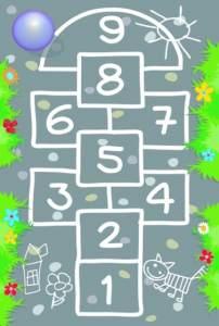 Spielteppich Hopscotch 100 x 150 cm grau