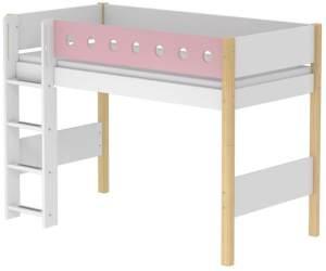 Flexa 'White' Halbhochbett weiß/natur/rosa, gerade Leiter, 90x200cm