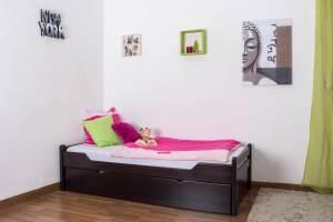 Einzelbett Easy Premium Line K1/1h inkl. 2. Liegeplatz und 2 Abdeckblenden, Schokobraun