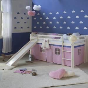 Hochbett Spielbett Kinderbett Rutsche Kiefer Vorhang pink 90x200 Jugendbett