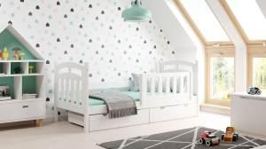 Kinderbettenwelt 'Susi' Kinderbett 90x200 cm, weiß, Kiefer massiv, inkl. Lattenrost, zwei Schubladen und Matratze
