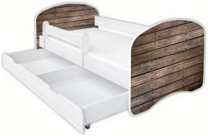 Clamaro 'Schlummerland Dekor' Kinderbett 80x180 cm, Design 2, inkl. Lattenrost, Matratze, Rausfallschutz und Schublade