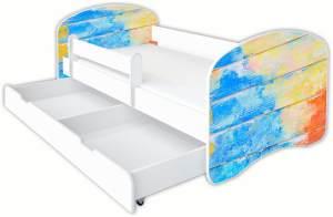 Clamaro 'Schlummerland Dekor' Kinderbett 80x180 cm, Design 20, inkl. Lattenrost, Matratze, Rausfallschutz und Schublade