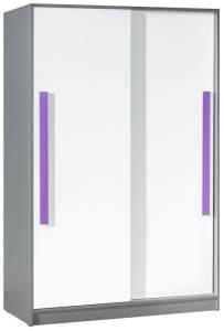 Schiebetürenschrank / Kleiderschrank Olaf 13, Farbe: Anthrazit / Weiß / Lila, teilmassiv