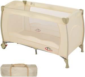 TecTake Kinderreisebett 60x120 cm, beige, mit Schlupfloch, Transporttasche und Rollen