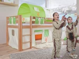 Relita Halbhohes Spielbett ALEX Buche massiv natur lackiert mit Stoffset Indianer