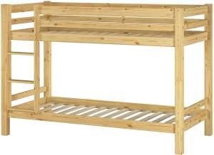 Erst-Holz Etagenbett 90x200 cm, natur, Kiefer massiv, inkl. Rollroste