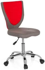 hjh OFFICE 670610 Kinder-Schreibtischstuhl KIDDY COMFORT Filzbezug Grau/Rot Jugend Bürostuhl höhenverstellbar