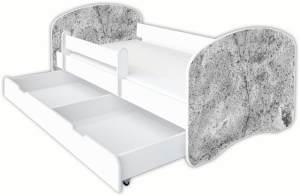 Clamaro 'Schlummerland Dekor' Kinderbett 80x180 cm, Design 24, inkl. Lattenrost, Matratze, Rausfallschutz und Schublade