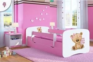 Kocot Kids 'teddybär mit Blumen' Einzelbett pink 70x140 cm inkl. Rausfallschutz, Matratze, Schublade und Lattenrost