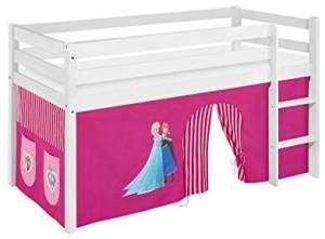 Lilokids 'Jelle' Spielbett 90 x 200 cm, Eiskönigin Rosa, Kiefer massiv, mit Vorhang