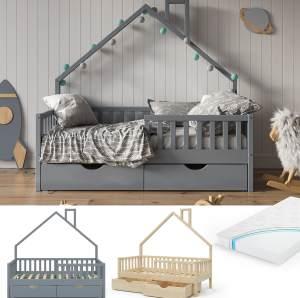 VitaliSpa 'Noemi' Hausbett grau, 80x160cm, Massivholz Kiefer, inkl. Matratze, 2x Schubladen, Lattenrost und Rausfallschutz