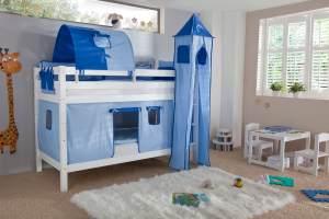 Etagenbett BENI Buche massiv weiß lackiert mit Textilset blau/delfin