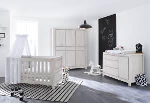 Pinolino 'Line' 3-tlg. Babyzimmer-Set grau, breit, 3-türig