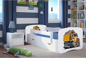 Kocot Kids 'Truck' Einzelbett weiß 80x160 cm inkl. Rausfallschutz, Matratze, Schublade und Lattenrost