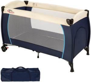 TecTake Kinderreisebett 60x120 cm, blau, mit Schlupfloch, Transporttasche und Rollen